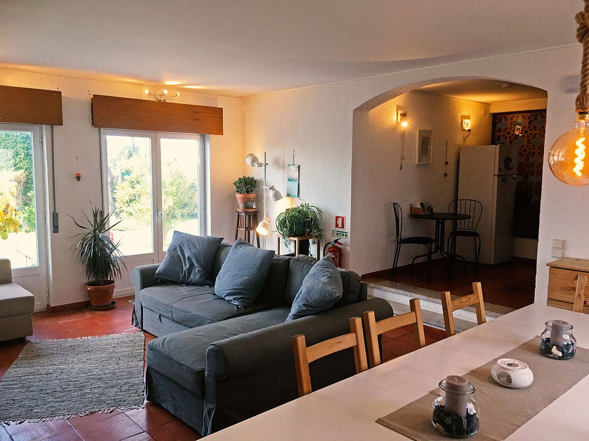 Cozy living room at Surfcamp in Portugal